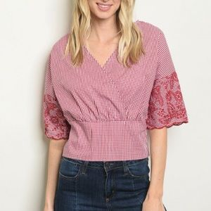 Tops - Gingham Check V-neck Embroidered Top